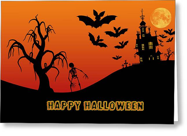 Haunted House Digital Greeting Cards - Halloween Greeting Card by Anthony Caruso