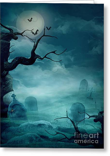 Flyer Greeting Cards - Halloween background - Spooky graveyard Greeting Card by Mythja  Photography