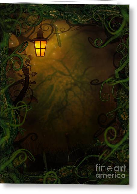 Castle Horror Illustration Greeting Cards - Halloween background with spooky vines Greeting Card by Mythja  Photography
