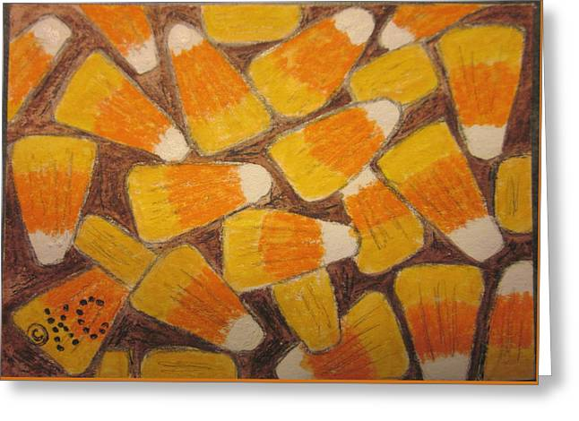 Halloween Candy Corn Greeting Card by Kathy Marrs Chandler
