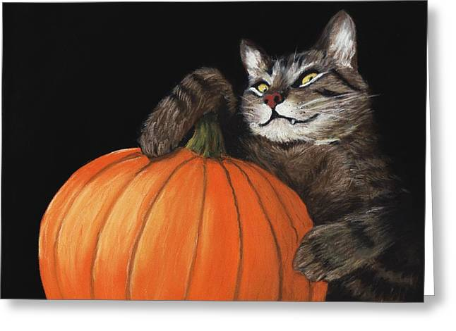 Pastel Greeting Card featuring the painting Halloween Cat by Anastasiya Malakhova