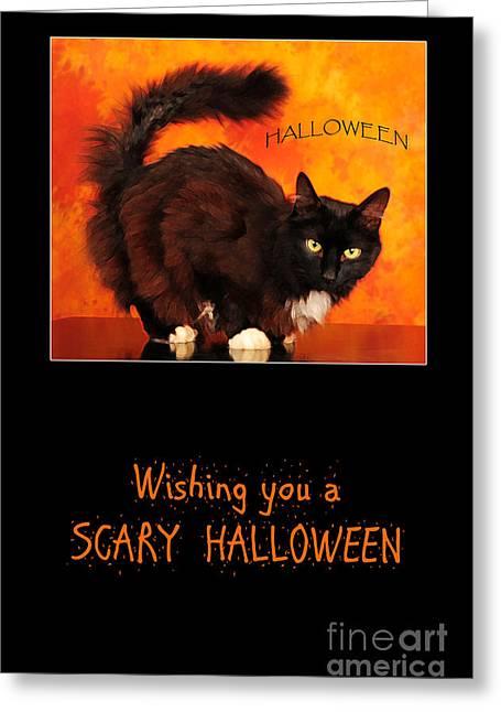 Halloween Cat Greeting Card by Randi Grace Nilsberg