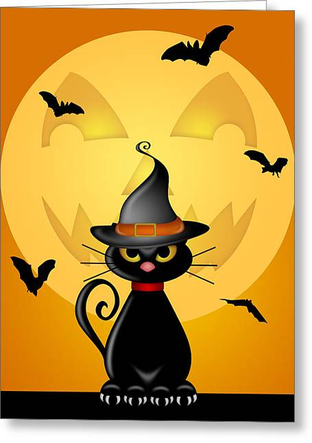 Party Hat Posters Greeting Cards - Halloween Cat with Witches Hat by Jack O Lantern Moon Greeting Card by David Gn