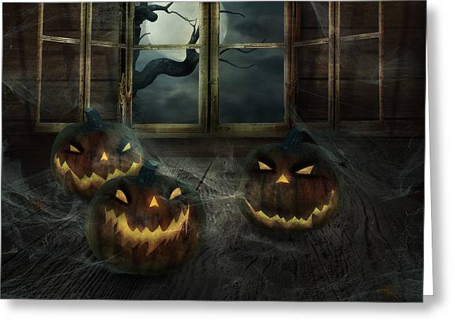 Castle Horror Illustration Greeting Cards - Halloween Design - Abandoned pumpkins Greeting Card by Mythja  Photography