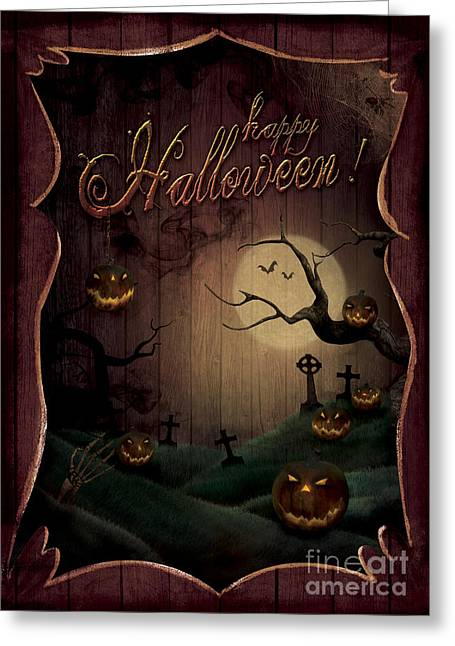 Castle Horror Illustration Greeting Cards - Halloween design - Pumpkins Theatre Greeting Card by Mythja  Photography