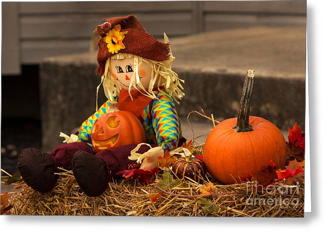 Halloween Doll Greeting Card by Iris Richardson