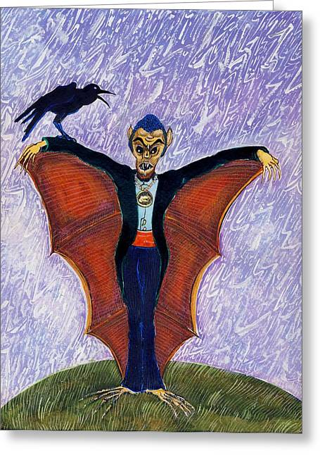 Evening Dress Drawings Greeting Cards - Halloween Funny Batcula with Crow Greeting Card by Ion vincent DAnu
