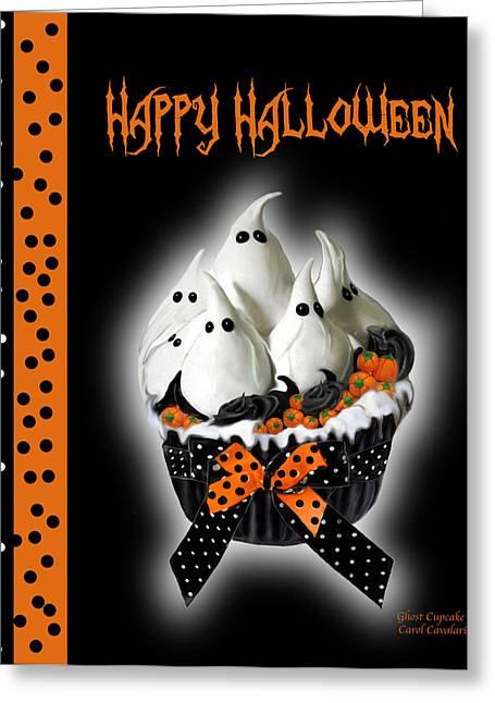 Halloween Card Greeting Cards - Halloween Ghost Cupcake 3 Greeting Card by Carol Cavalaris