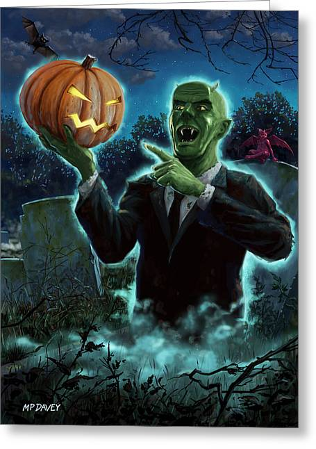 Creepy Digital Art Greeting Cards - Halloween Ghoul rising from Grave with pumpkin Greeting Card by Martin Davey