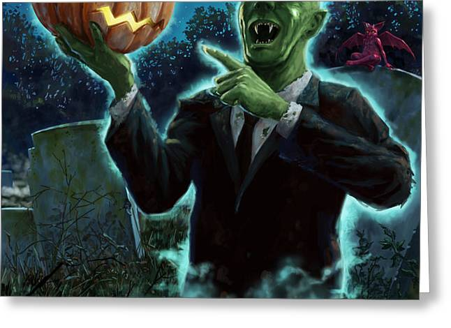 Halloween Ghoul rising from Grave with pumpkin Greeting Card by Martin Davey