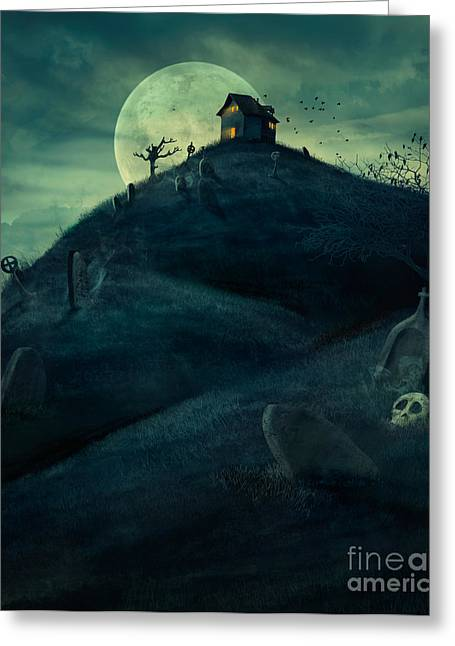 Castle Horror Illustration Greeting Cards - Halloween graveyard Greeting Card by Mythja  Photography
