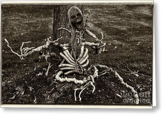 Sceleton Greeting Cards - Halloween Green Skeleton Black and White Greeting Card by Iris Richardson