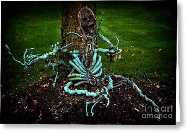 Commercial Photography Greeting Cards - Halloween Green Skeleton Vinette Greeting Card by Iris Richardson