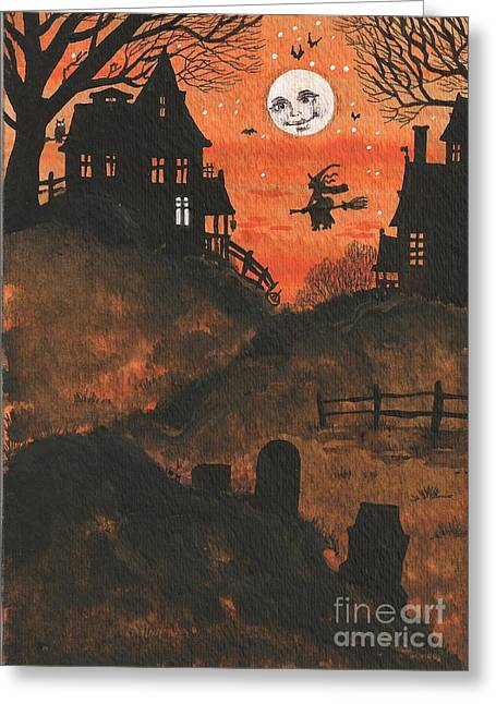 """haunted House"" Paintings Greeting Cards - Halloween Hamlet Greeting Card by Margaryta Yermolayeva"