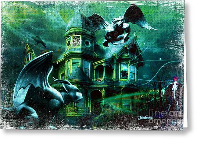 Rosyhall Greeting Cards - Halloween House Greeting Card by Rosy Hall