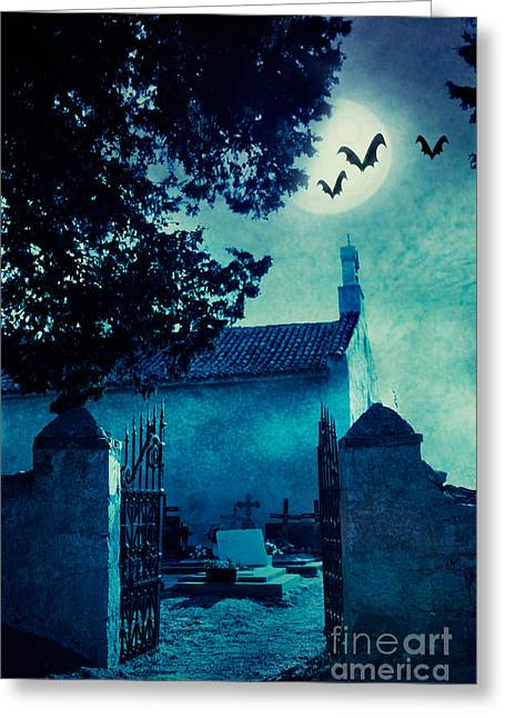 Castle Horror Illustration Greeting Cards - Halloween illustration with graveyard Greeting Card by Mythja  Photography