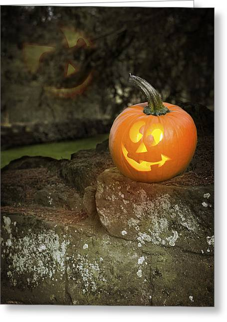 Old Face Greeting Cards - Halloween Jack O Lanterns Greeting Card by Amanda And Christopher Elwell
