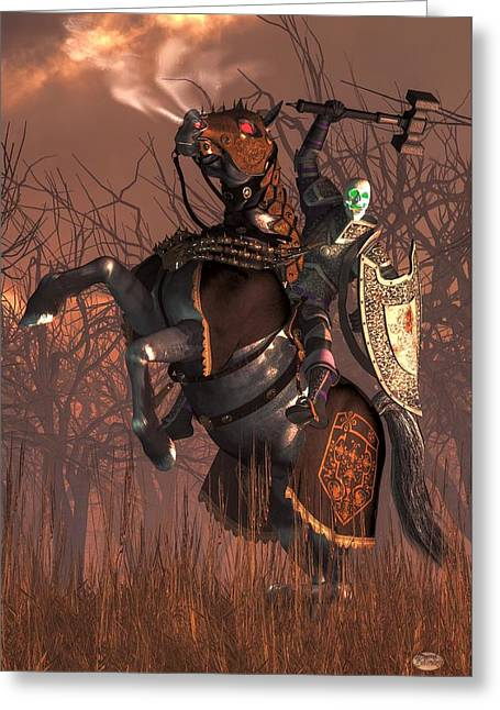 Creepy Digital Art Greeting Cards - Halloween Knight Greeting Card by Daniel Eskridge