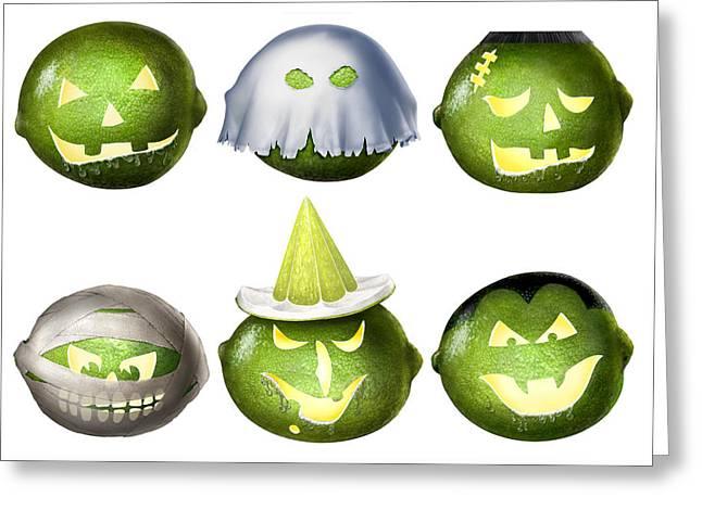 Cartoony Greeting Cards - Halloween Limes Monsters Greeting Card by Walt Curlee