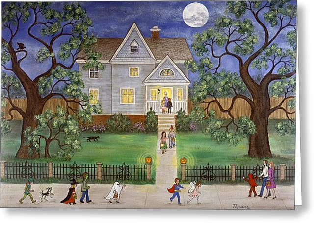 Trick-or-treaters Greeting Cards - Halloween Greeting Card by Linda Mears