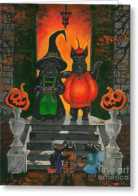 Recently Sold -  - Night Angel Greeting Cards - Halloween MacDuff Greeting Card by Margaryta Yermolayeva