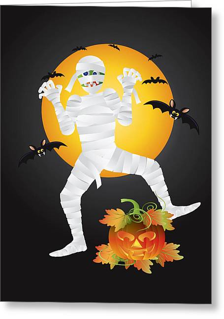 Party Hat Posters Greeting Cards - Halloween Mummy Carved Pumpkin Illustration Greeting Card by JPLDesigns