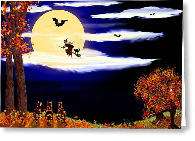 Book Cover Art Greeting Cards - Halloween Night Greeting Card by Michele  Avanti
