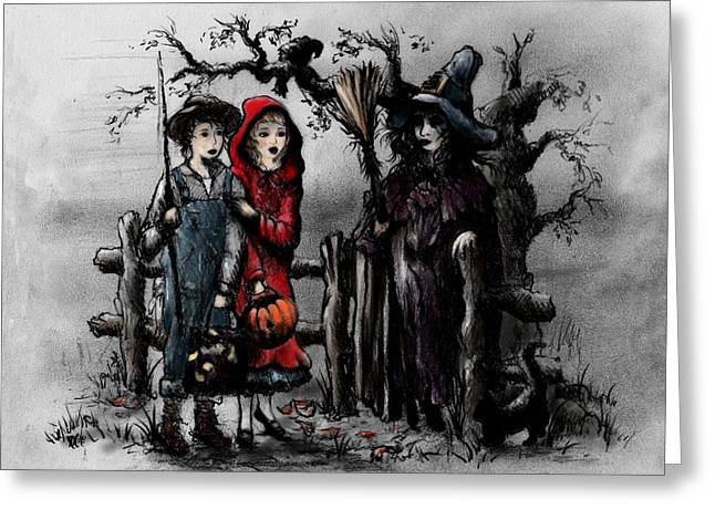 Tricks Greeting Cards - Halloween Night Greeting Card by Rachel Christine Nowicki