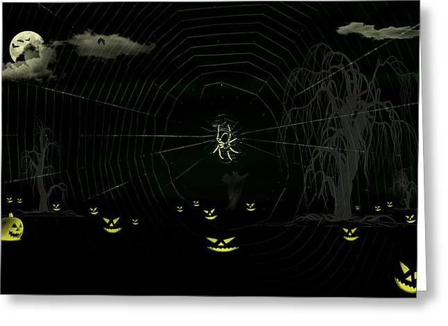 Flying Spider Greeting Cards - Halloween night with Halloween Characters Greeting Card by Image World