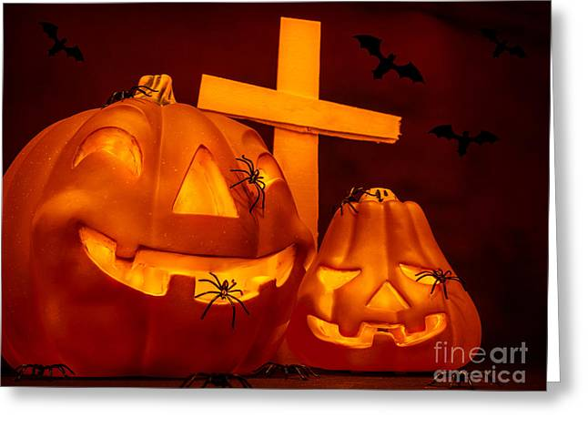 Flying Spider Greeting Cards - Halloween on cemetery Greeting Card by Anna Omelchenko