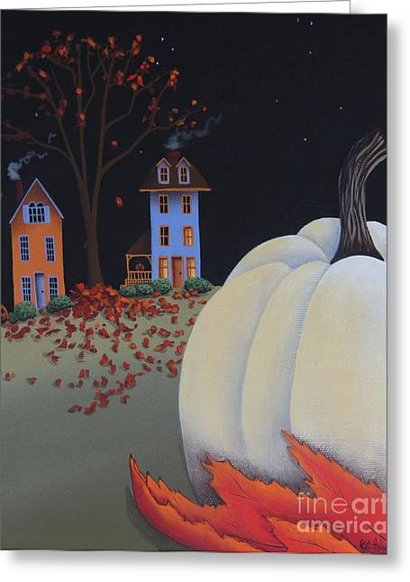 White Pumpkin Greeting Cards - Halloween on Pumpkin Hill Greeting Card by Catherine Holman