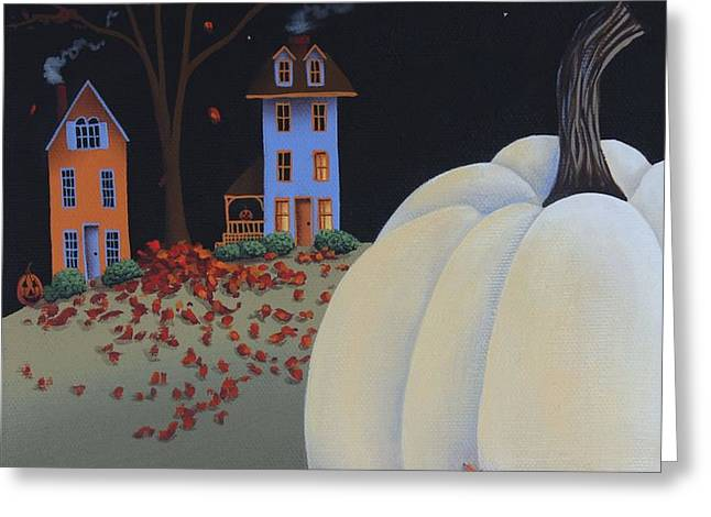 Halloween on Pumpkin Hill Greeting Card by Catherine Holman