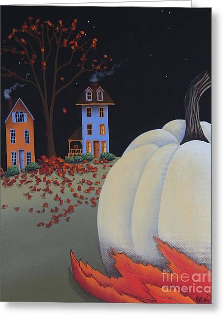 Catherine White Paintings Greeting Cards - Halloween on Pumpkin Hill Greeting Card by Catherine Holman