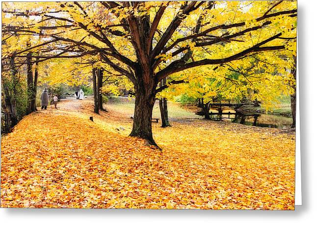 People In Autumn Greeting Cards - Halloween Outdoor Scenic Greeting Card by George Oze