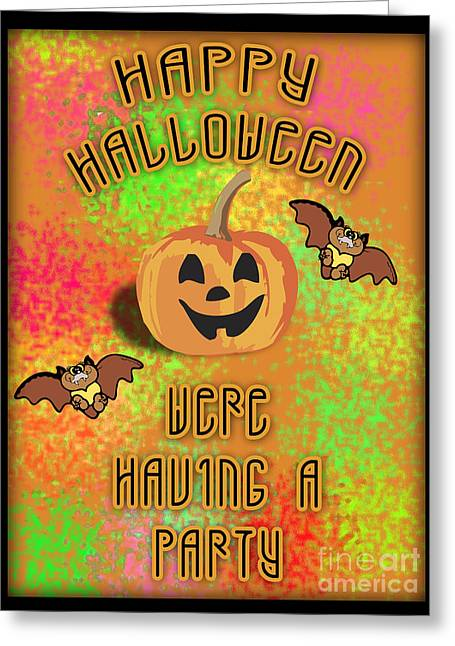 Party Invite Greeting Cards - Halloween Party Invitation  Greeting Card by K D Graves
