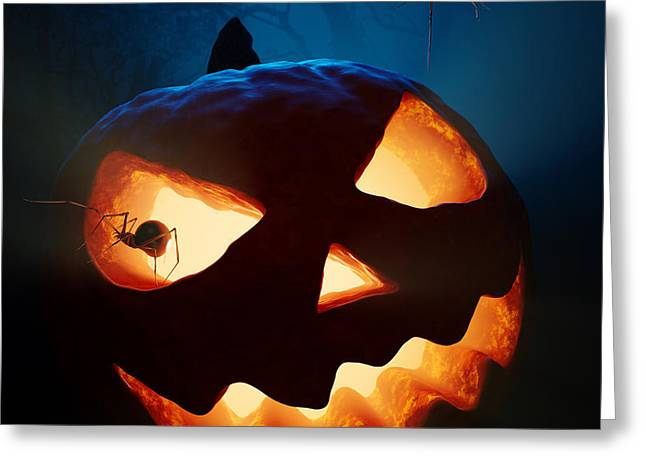 Carved Greeting Cards - Halloween pumpkin and spiders Greeting Card by Johan Swanepoel