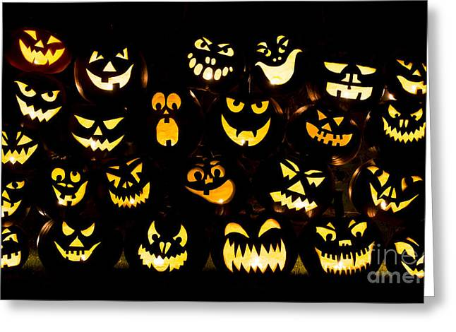 Halloween Pumpkin Faces Greeting Card by Tim Gainey
