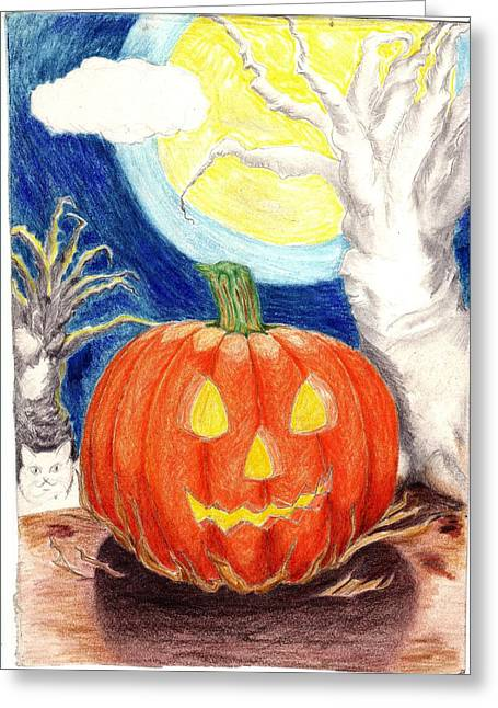 Ghastly Greeting Cards - Halloween Pumpkin Greeting Card by Ray  Texidor