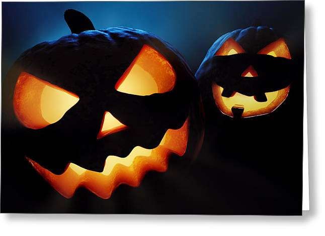 Carved Greeting Cards - Halloween pumpkins closeup -  jack olantern Greeting Card by Johan Swanepoel