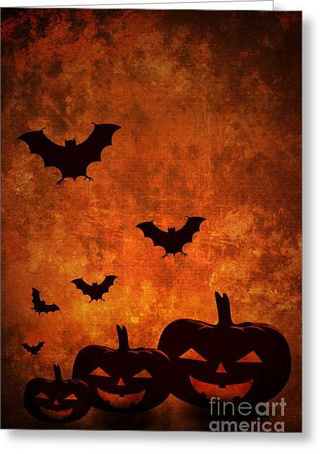Fall Pyrography Greeting Cards - Halloween Pumpkins Greeting Card by Jelena Jovanovic