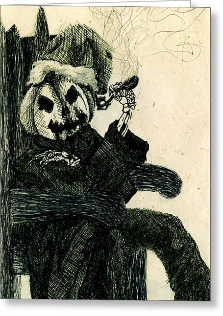 Pumpkins Drawings Greeting Cards - Halloween Santa Greeting Card by Kd Neeley