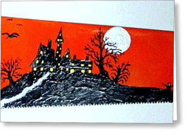 Saw Greeting Cards - Halloween Painted Saw Greeting Card by Jeffrey Koss