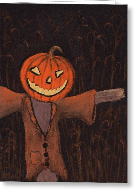 Creature Pastels Greeting Cards - Halloween Scarecrow Greeting Card by Anastasiya Malakhova