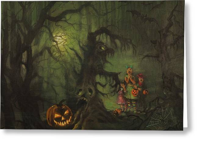 Haunted Woods Greeting Cards - Halloween Shortcut Greeting Card by Tom Shropshire