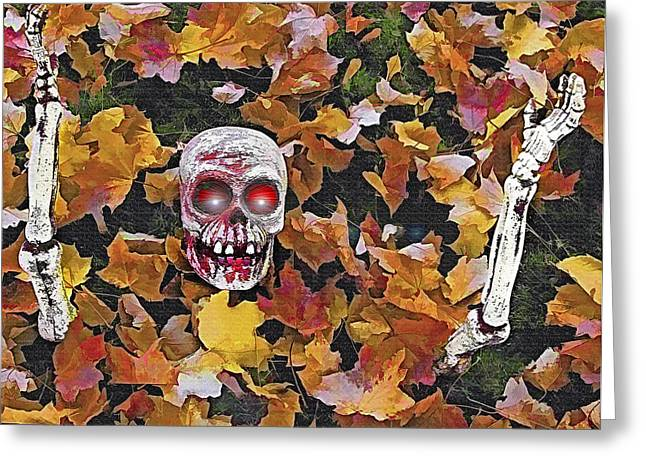 Halloween Skeleton Greeting Card by Steve Ohlsen