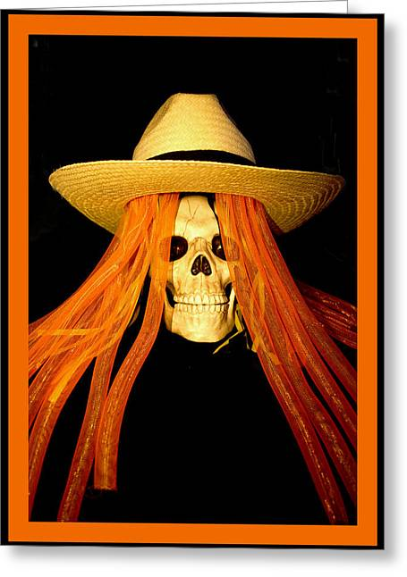 Magic Hat Greeting Cards - Halloween Skull Border Greeting Card by Barbara Snyder