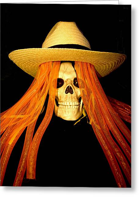 Magic Hat Greeting Cards - Halloween Skull Greeting Card by Barbara Snyder
