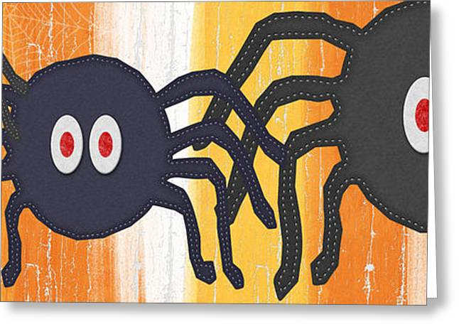 Creepy Greeting Cards - Halloween Spiders Sign Greeting Card by Linda Woods