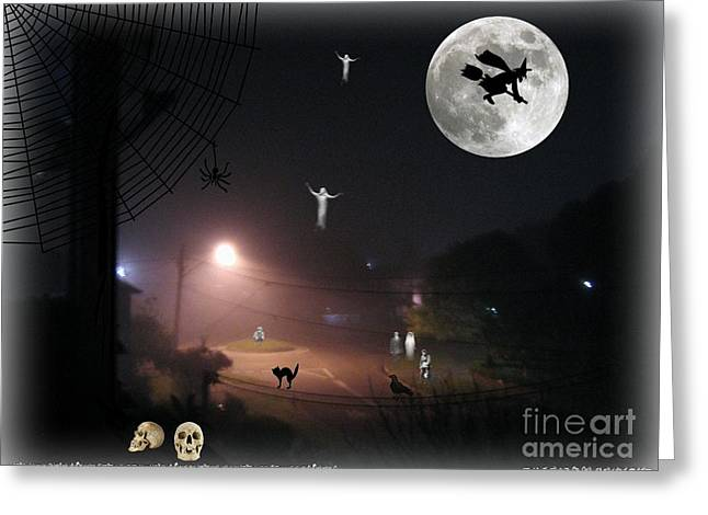 Flying Spider Greeting Cards - Halloween Spooks Greeting Card by Leanne Seymour