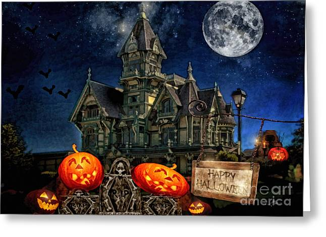 Creepy Digital Art Greeting Cards - Halloween Spot Greeting Card by Mo T